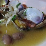 Slow Food Fish Dinner: clams & chorizo