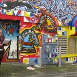 Yvonne Blomer reads Running Away, to Cameron Kidd (and street artists) graffiti mural