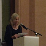 Judging panel chair Helen Dunsmore announcing TS Eliot prize-winner